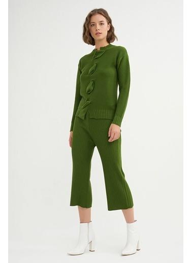 BGN Yeşil - Drapeli Triko Kazak - Pantolon Takım Yeşil